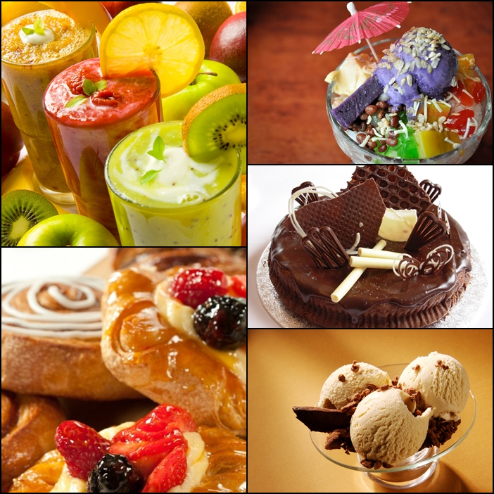 Top to Bottom) Smoothies, Pastries, Halo-Halo, Cake and Ice Cream